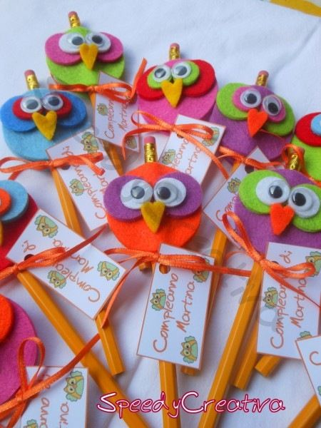 Felt owls as pencil toppers