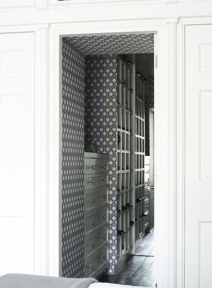 contemporary closet by Greg Natale. Hick's Hexagon wallpaper by Cole & Son