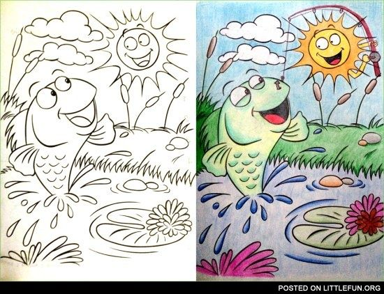 Coloring Book Corruptions The Fishing Sun