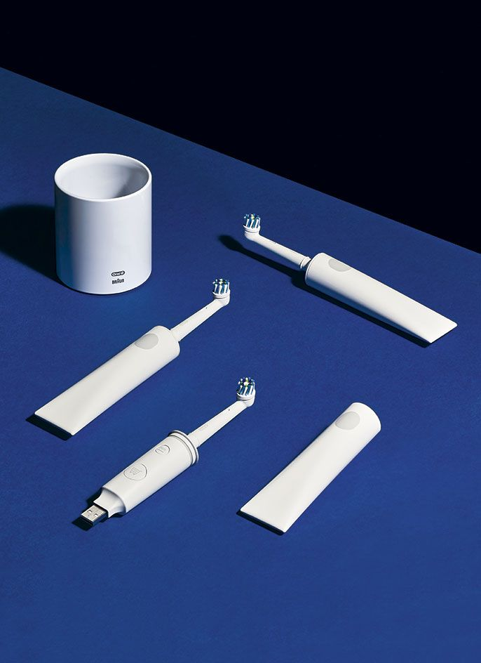This project marks the debut of Future Facility, a new design studio from Sam Hecht and Kim Colin. Their reimagined electric toothbrush combines an analogue practicality with a digital extension that re-orders brush heads, a USB charger and a base charger that looks like a simple ceramic cup holder. #wallpaperhandmade