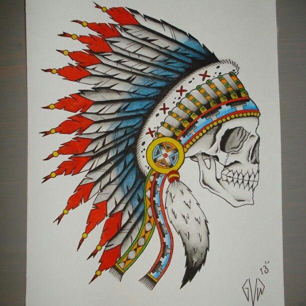 Traditional indian skull | tattoos | Pinterest ...