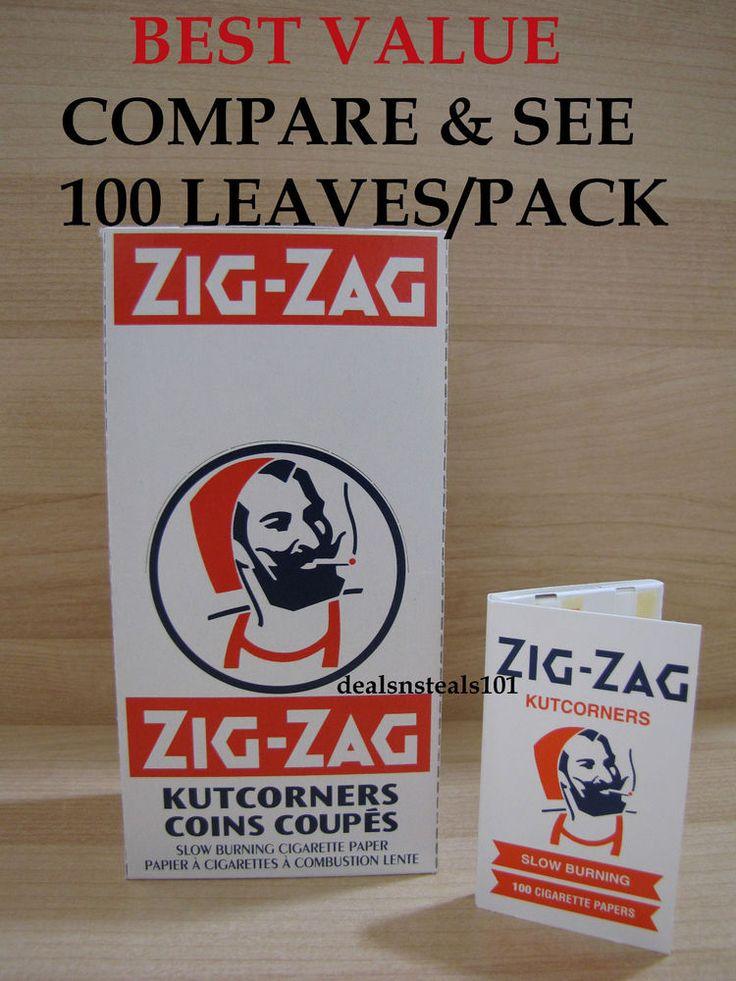 BOX ZIG ZAG WHITE KUTCORNERS SLOW BURNING ROLLING PAPERS 25 Packs = 2500 Papers