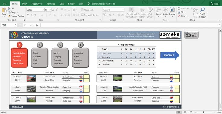 Copa America Centenario – Excel Template: If you are a soccer fan don't miss this excel template! Specially prepared for Copa America Centenario 2016 including auto-calculations, fixtures, stadiums and many more. (FREE download from someka.net)  #soccer #excel #usa #template #spreadsheet #personal #football #copa #america #printable #free