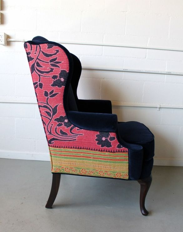 Ask an upholstery company to use a sari for part of a chair's new fabric. I love this Sari Blanket Chair ($1,000) from Spruce.