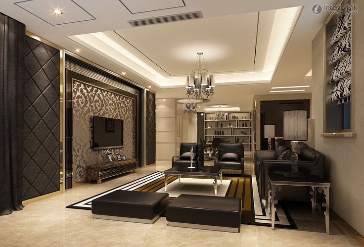Wall Designs For Tv Room : Beautiful living room with tv in lcd