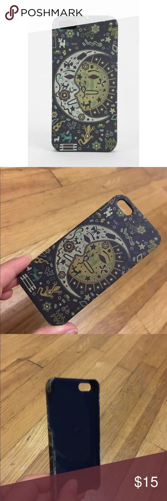 URBAN OUTFITTERS sun & moon iPhone 5/s case!  This phone case is from Urban Outfitters, it has some beautiful art work of a sun and moon on it! The case is lightly used, and fits a 5/5s iPhone. It's SO cute and stylish right now, I wish I could keep it but I have a 6s :( The back is a very soft matte finish and it is great! Urban Outfitters Accessories Phone Cases