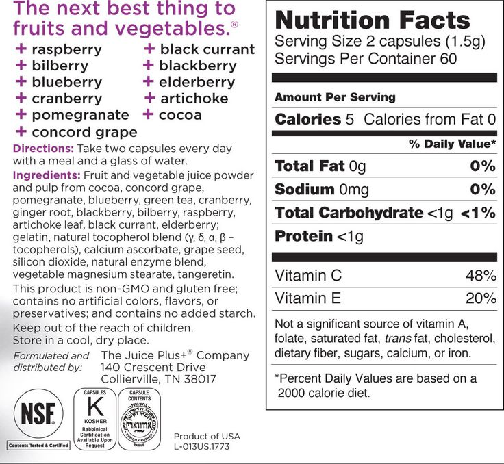 Juice Plus+ Orchard, Garden & Vineyard Blen Capsules. Real nutrition label, not a supplement!