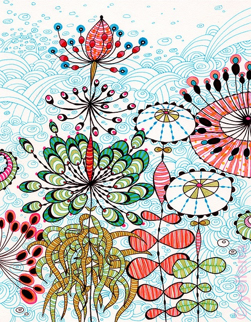 """""""Garden"""" - ink abstract by Yellena James #art #graphic #print"""