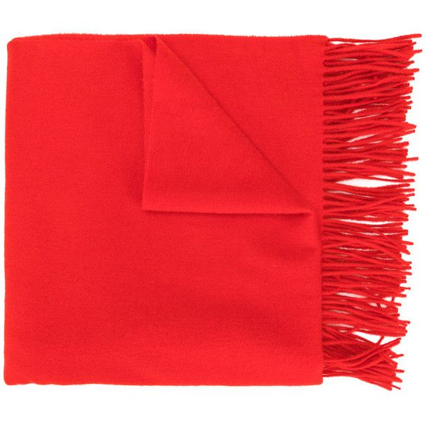 Pringle Of Scotland fringed scarf (42.550 RUB) ❤ liked on Polyvore featuring accessories, scarves, red, fringe shawl, red scarves, pringle of scotland, red cashmere shawl and red shawl