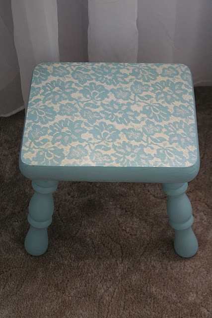 Just base coat of Anne Sloan Chalk paint then white spray painted over lace...amazing!