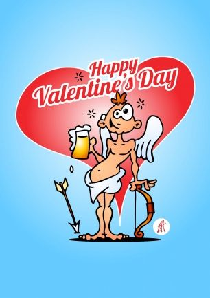 Cupid with a beer. Happy Valentine's Day postcard #Sendasmile #Cardvibes #Tekenaartje #Love #Valentine #Romance #Beer