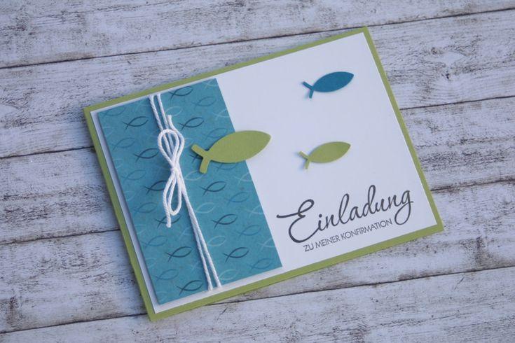 """*Einladungskarte zur Konfirmation""""*   Die Karte wurde mit Liebe zum Detail, großer Sorgfalt und sehr aufwändig angefertigt.  Farben: Petrol, Grün, Weiß  Bitte teilt mir beim Kauf im..."""
