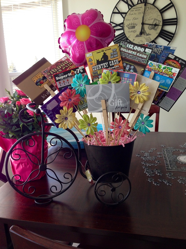 19 best gift card bouquet images on pinterest teacher mothers day bouquet in bicycle planter including gifts cards scratch tickets candy negle Choice Image