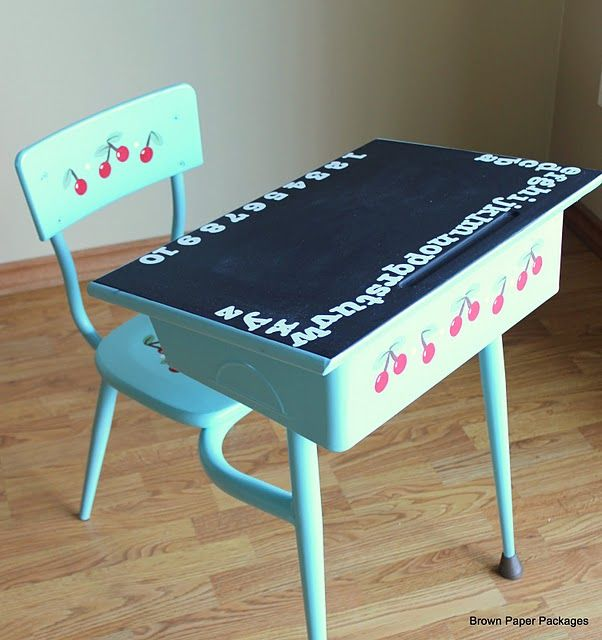 This vintage school desk is so adorable! Created by Brown Paper Packages. My Favorites have been chosen!    Totally awesome boys nautical room by The Yellow Cape Cod. So how clever is this ABC wall by Our Wonder Filled Life? Paisley Petal Events has done it again with this very cool Beach Barbie theme party. ...continue reading