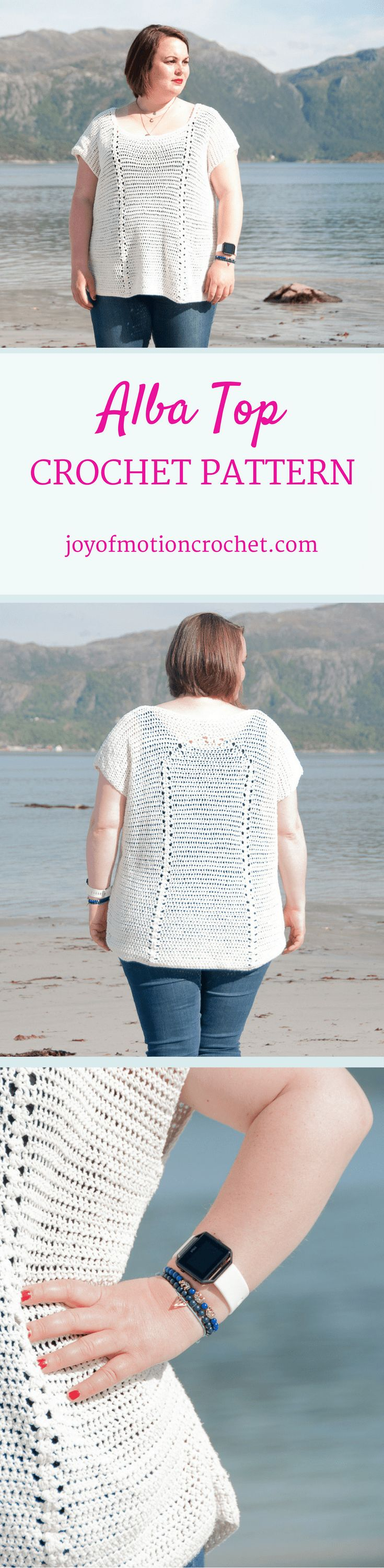The Alba top a crochet pattern. Woman's top crochet pattern with skill level easy.. Make this fashionable crochet top with your own crochet hook & yarn. Top crochet pattern easy for her. Top crochet pattern easy for her. | crochet top | woman's crochet top | crochet pattern for her | fashionable crochet top | interesting crochet top | Click to purchase or repin to save it forever. via @http://pinterest.com/joyofmotion/