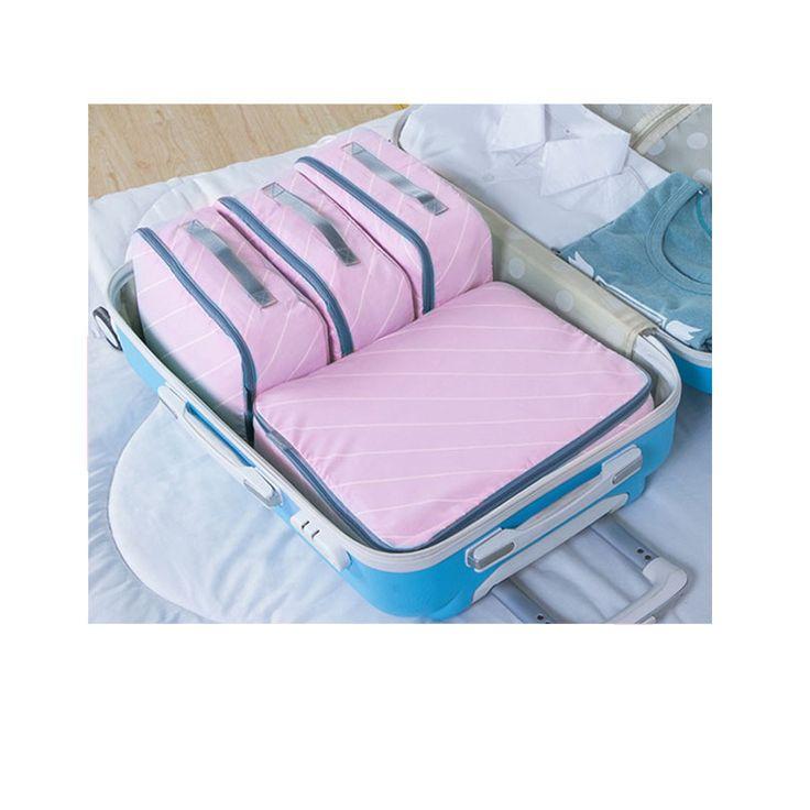 4 stks Reizen Verpakking Cubes Mode Waterdichte Reizen Verpakking Organisatoren Hoge Kwaliteit Zachte Kleding reistas 4 Sets Mannen Vrouwen