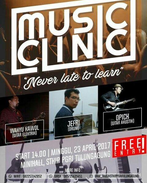 • MUSIC CLINIC • ...NEVER LATE TO LEARN... - Mini Hall STKIP PGRI Tulungagung. - Minggu, 23 April 2017. - Pukul 14.00 - Selesai. ...DUNIA BERMUSIK Dengan MUSIK DUNIA... √ Jangan Sampai Terlewatkan... --- Salam Budaya Lukis Tusuk Gigi T-WooL --- #musicclinic #art #event #music #lukistusukgigitwool #tokonembaktita #tulungagung #budaya #sisrijilbablukis #twool #tokonembaktita #sisri #5thTWool #stkippgrita #stkippgritulungagung