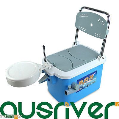 3in1 25L Mini Foldable Fishing Box Storage Fish with Backrest+Bag+Seat Cushion