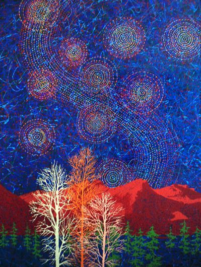"""Nightfall in the Rockies # 3"" by Artist Rhonda Lund 36 x 48"" Acrylic on Canvas ; Staple back 2014 'the fascinating star filled sky of a Rocky Mountain summer night"