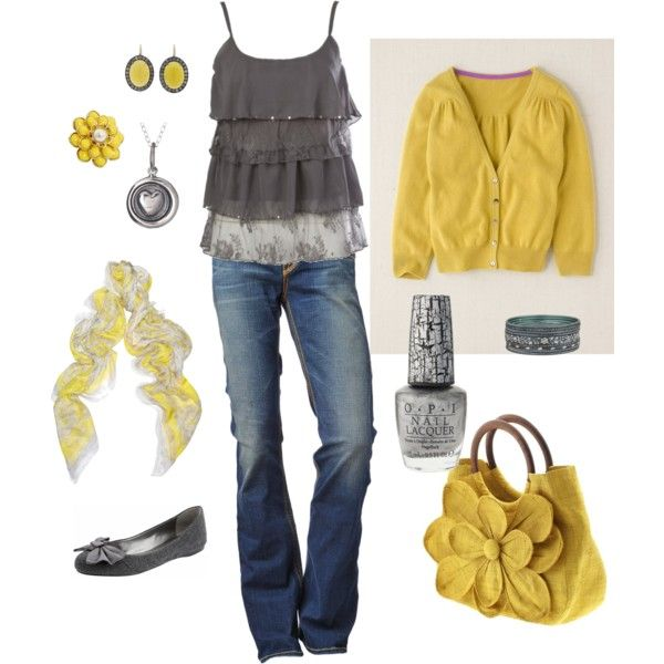 love the yellow and grey. how cute is that purse??