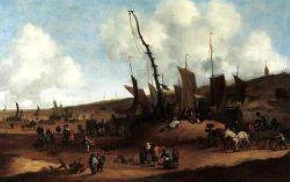 Hendrick de Meijer (1620 - 1689/1698). Strandgezicht met kerktoren van Scheveningen. Op dit schilderij vanaf de zuidzijde is de vlag uit de paal gehaald. Het is een drukte van belang op het strand. De pinken zijn op het strand getrokken, maar de zeilen zijn nog niet binnengehaald.