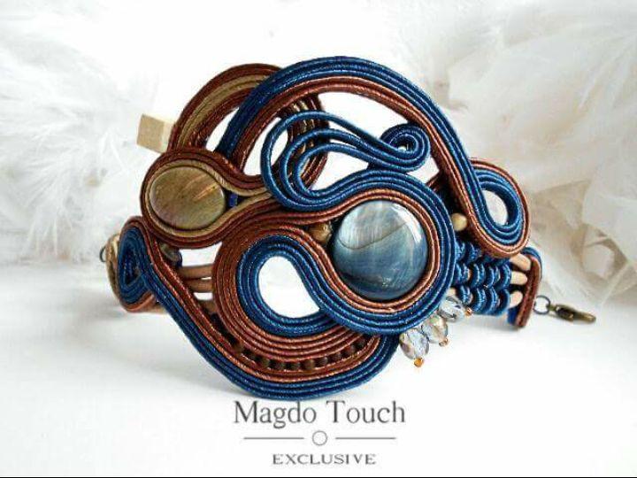 Royal blue soutache blue cuff bracelet dangle earrings ...