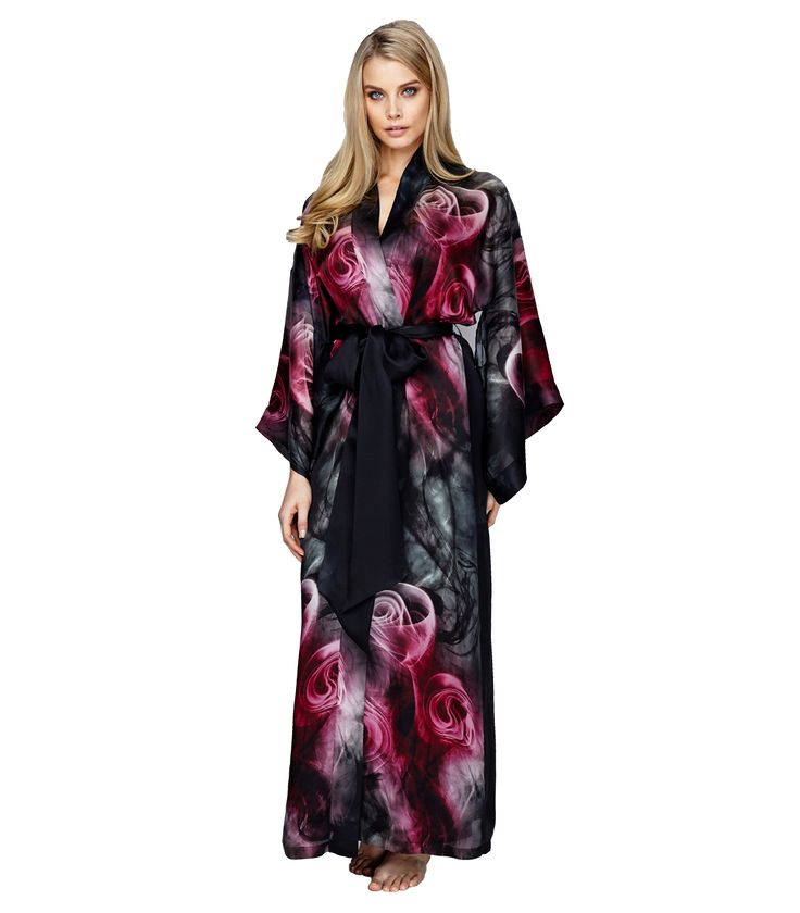 We love the beautiful print on this Smoky Rose Kimono from Christine Lingerie.