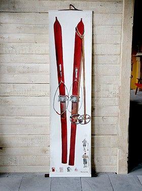 Tableau 'Paire de skis rouges' 186x44cm.