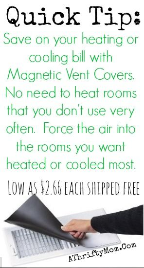 Heating and Cooling Tips, How to save money on your AC bill, use vent covers to force air where you want it most
