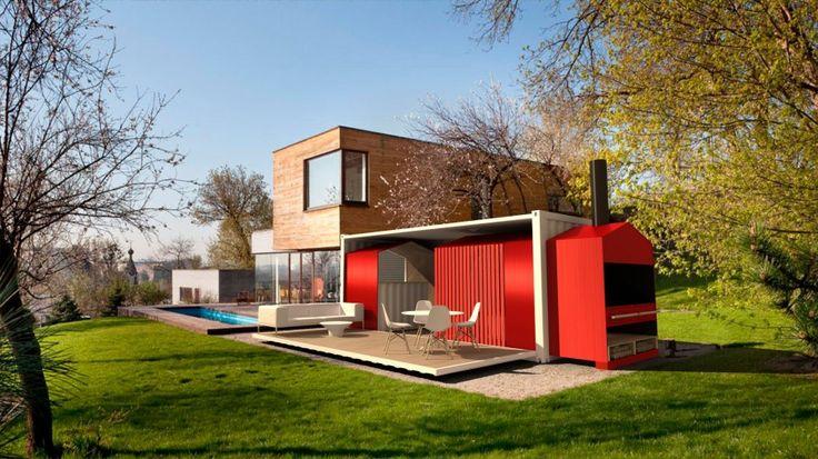 Sélection de construction en container maritime #container #rouge #pool #piscine #maison #house http://www.novoceram.fr/blog/architecture/construction-maison-container