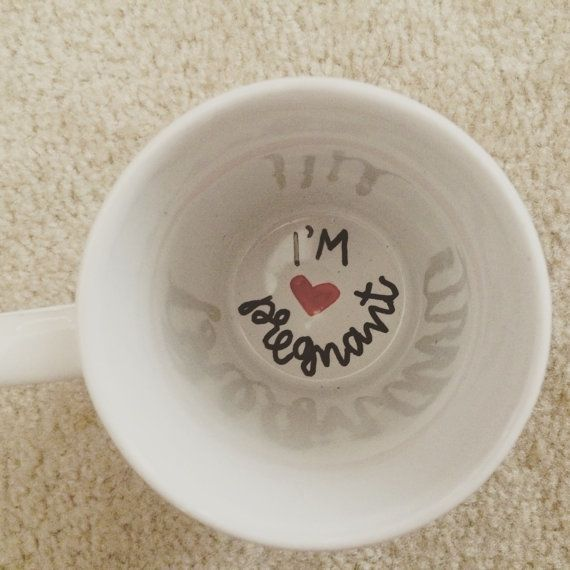SURPRISE I'm pregnant / hand painted coffee by StarOfTheSeaDesign. I want to buy this when I grow up and give it to my husband with coffee in it and surprise him