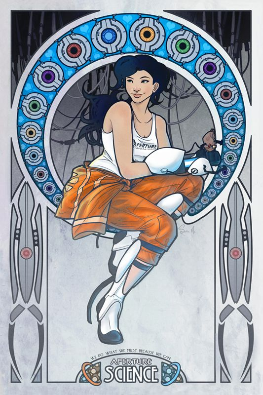 Art Nouveau Chell Poster!    I have no idea who first came up with the idea for nerdy Art Nouveau, but I love it.  Whoever you are, I owe you a drink!