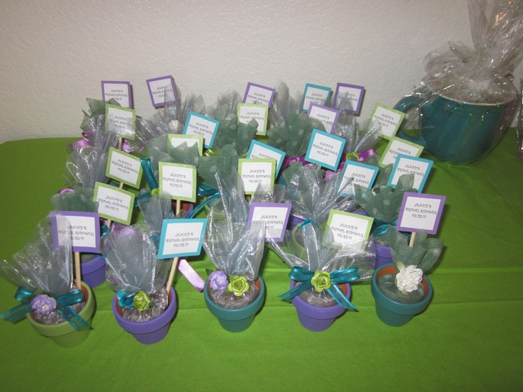 BRIDAL SHOWER MINI FLOWER POTS WITH REAL SEEDS AND GROWING INSTRUCTIONS