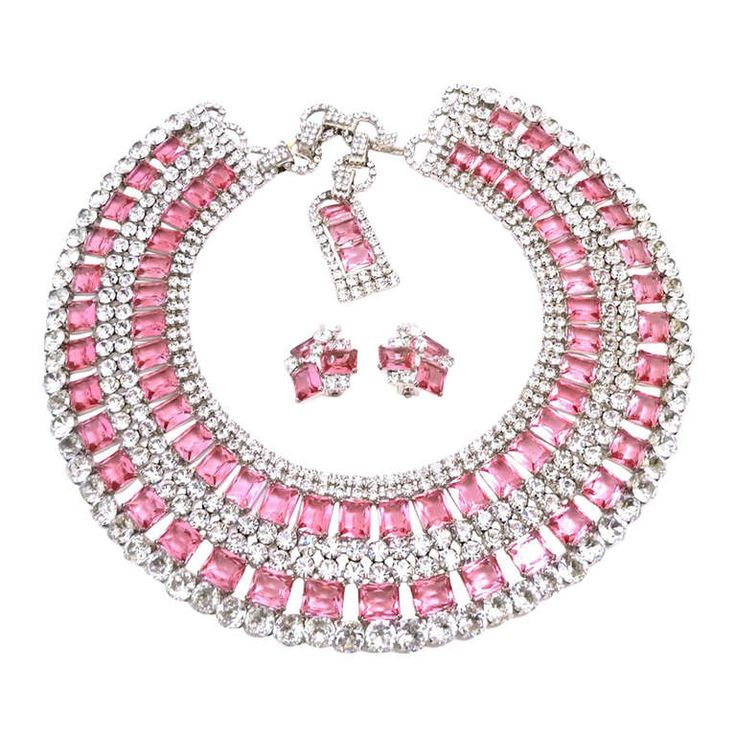 One-of-a-Kind Signed Robert Sorrell Rhinestone Necklace & Earrings