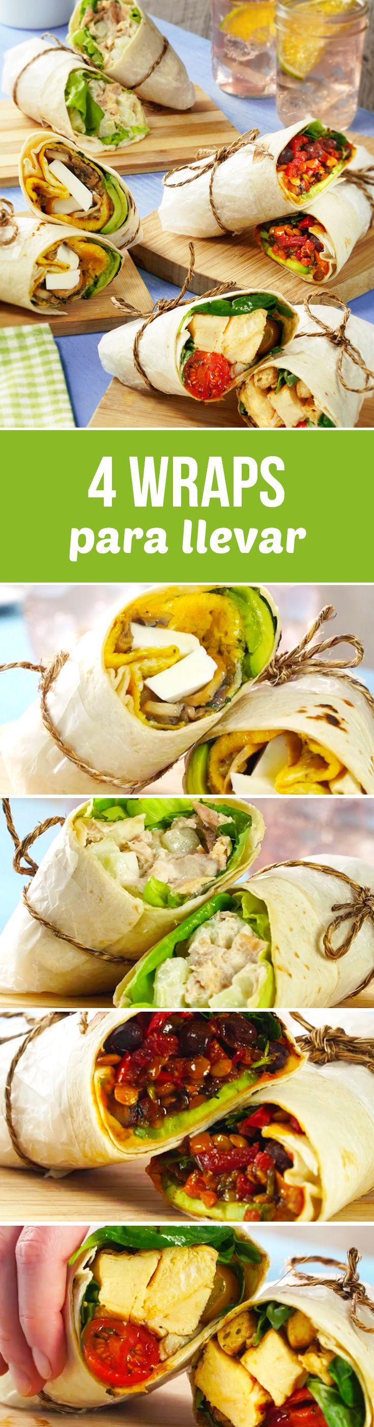 Estos wraps fáciles para llevar al trabajo son muy saludables. Prepara uno diferente cada día con tortillas de harina o tortillas integrales.