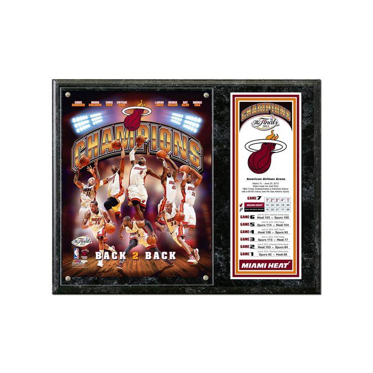 Miami Heat 2013 NBA Champions 12'' x 15'' Plaque, Black