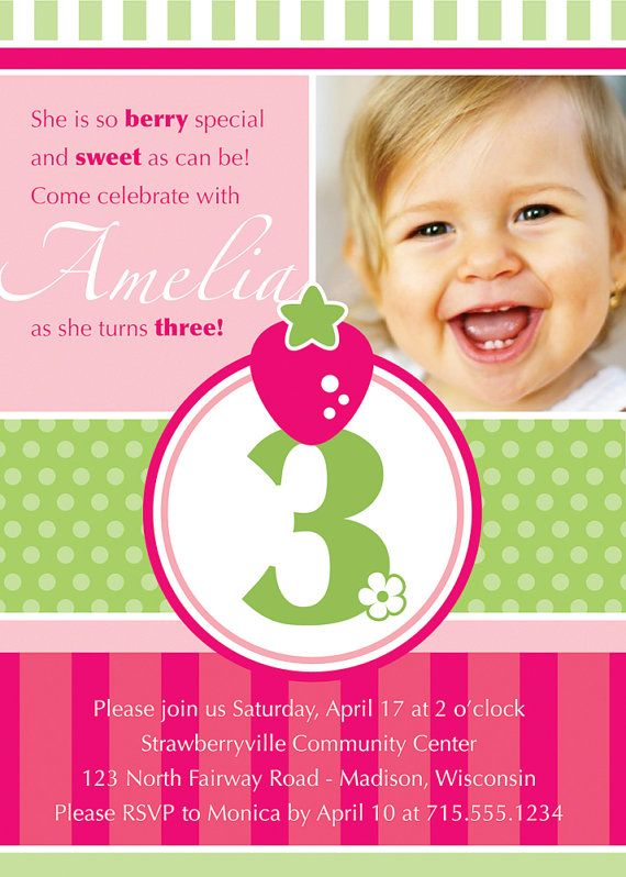 45 best Strawberry shortcake images – 3 Year Old Birthday Invitation