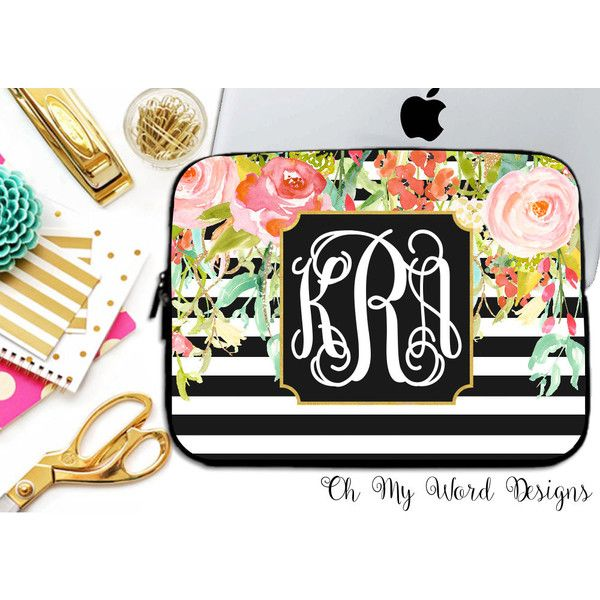 Laptop Sleeve-Water Color Flowers-Laptop Sleeve-Laptop Sleeve-Neoprene... ($28) ❤ liked on Polyvore featuring accessories, tech accessories, home & living, office, office & school supplies, silver, laptop case, neoprene laptop case, monogrammed laptop case and laptop sleeve cases