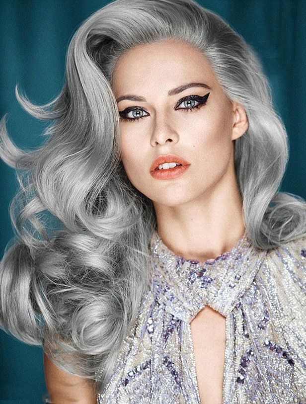 High Quality Long Curly Fashional Grey Wigs,Capless Wigs