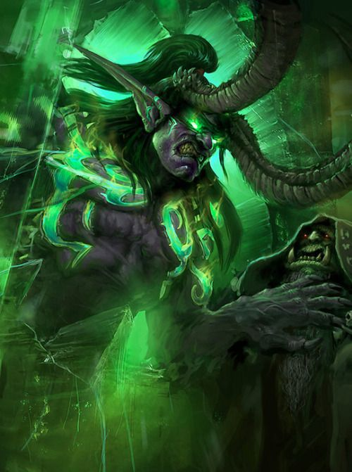 the-demon-huntress: Illidan and Gul'dan by ortsmor | World ...