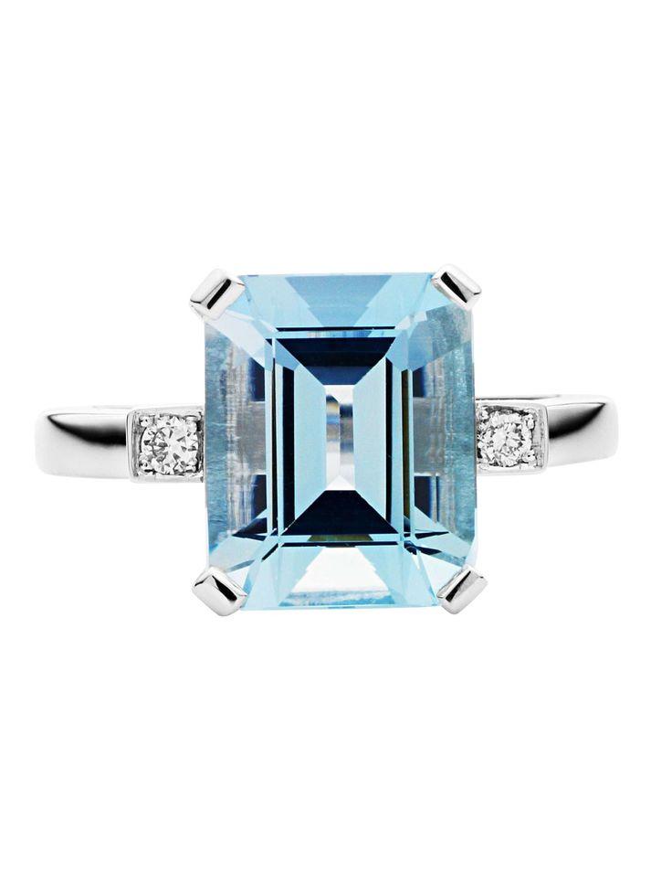 David Jones - Jan Logan 18ct Aquamarine Diamond Harlow Ring