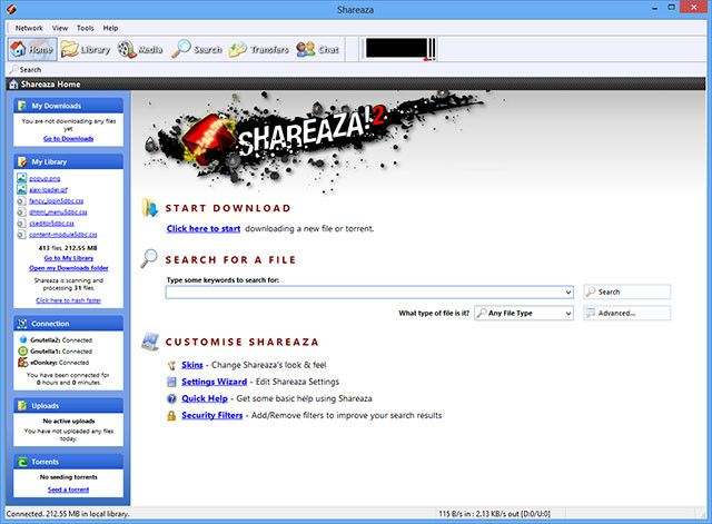 Shareaza is file-sharing software that immediately aims to fulfill all your sharing needs and enable you access to entire world of peer-to-peer multimedia by directly connecting to four largest p2p networks in the world (EDonkey2000, BitTorrent, Gnutella and Gnutella2) and many other file sharing protocols such as FTP, HTTP, magnet lings, ed2k links and Piolet links.