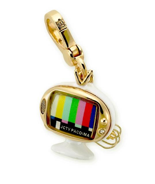 retired juicy couture  charms | New Juicy Couture 14K Yellow Gold-Plated Retro Television TV Charm ...