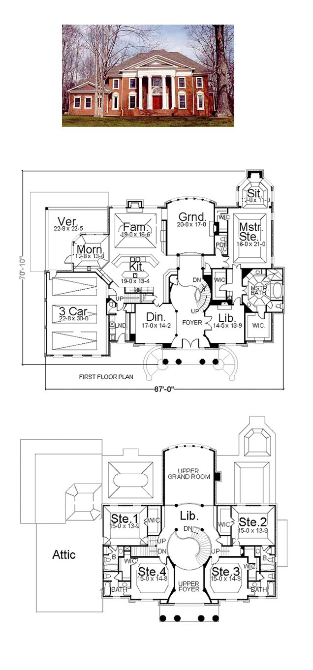 floor plans for houses. Plantation House Plan 72143 | Total Living Area: 5083 Sq. Ft., 5 Floor Plans For Houses
