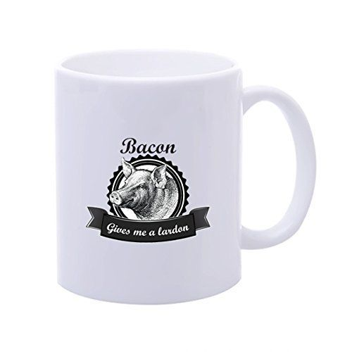 Candow Bacon Gives Me A Lardon Mugs Custom Customized Coffee Mug Picture Mugs Coffee In Mug >>> Special cat product just for you. See it now!   Cat mug