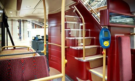 The ribbon window follows the path of the two staircases, making them bright and open spaces.  Photograph: TfL