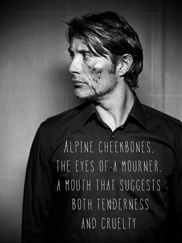 """""""But movies have always been about faces, and Mr. Mikkelsen's is haunting: alpine cheekbones; the eyes of a mourner; a mouth that suggests both tenderness and cruelty."""" http://www.nytimes.com/2010/06/06/movies/06mads.html"""