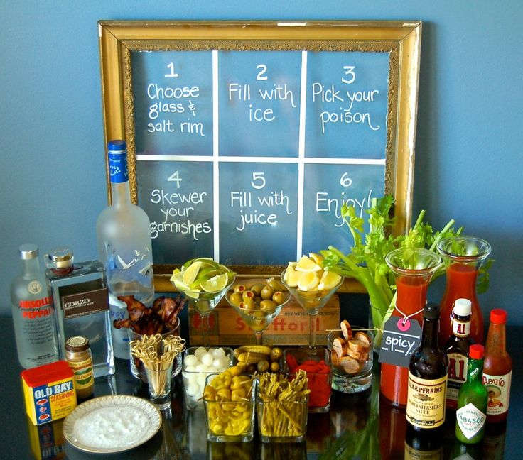 BUILD YOUR OWN BLOODY MARY BAR ~ We've compiled a list of ingredients we think are essential (and a lot of fun) to setting up the perfect bar.                                                                                                                                                                                 More