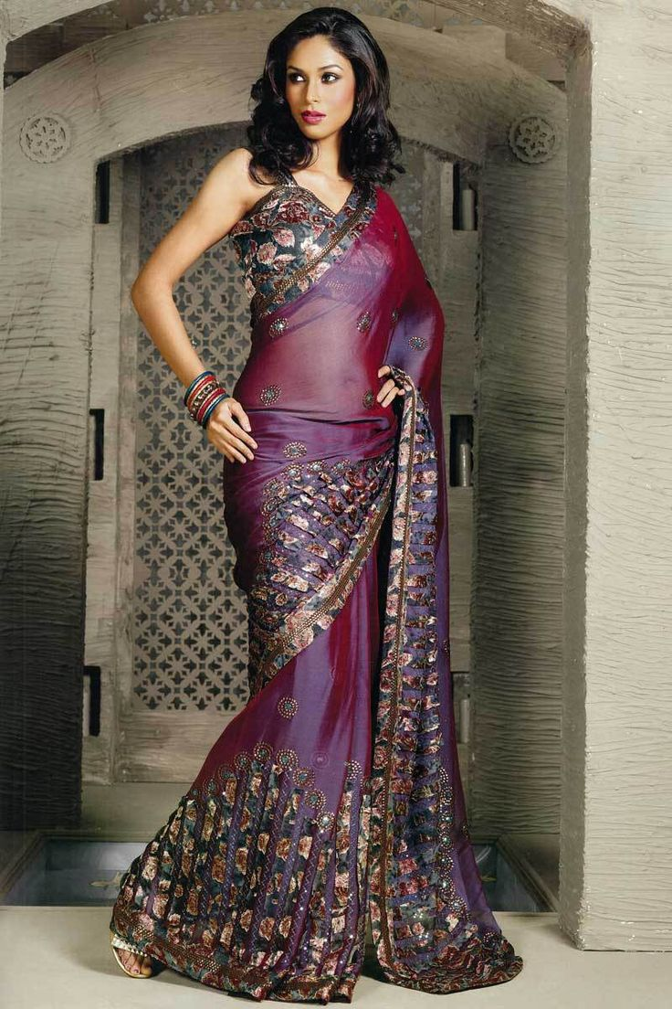 Beautiful Purple Shimmer georgette Embroidered party saree