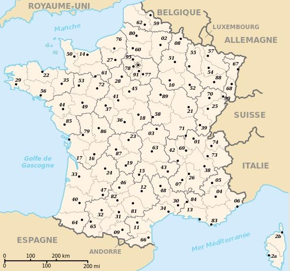 Depuis 1789 la france a 101 d partements dont 5 situ for Poitier numero departement